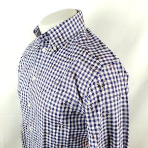 Eton Mens Button Front Shirt 15-38 Blue Gingham